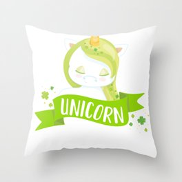 Kids St Patricks Day Kiss Me I'm a Unicorn Kiss me I'm Irish Throw Pillow