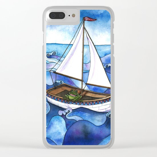 Froggy Goes Sailing Clear iPhone Case