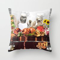 sloths Throw Pillows featuring Sloths by Big AL
