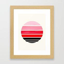 Red Mid Century Modern Minimalist Circle Round Photo Staggered Sunset Geometric Stripe Design Framed Art Print