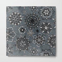 mandala snowflakes metal Metal Print