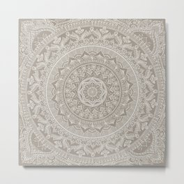 Mandala - Taupe Metal Print