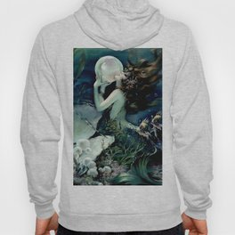 Henry Clive: Mermaid with Pearl dark teal Hoody