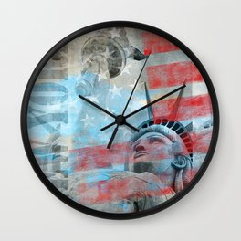 Lady Liberty Stars and Stripes Patriotic Artwork Wall Clock