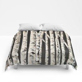 Nighttime in the birch Comforters