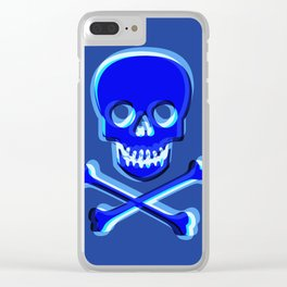 Skull and Bones Blue Clear iPhone Case