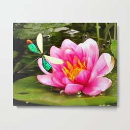 Water Lily and Dragonfly Metal Print