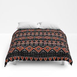 Mudcloth Style 2 in Black and Red Comforters