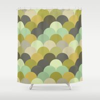 scales Shower Curtains featuring Scales by Rebekhaart