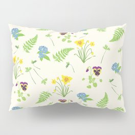 Spring Flowers and Ferns Illustrated Pattern Print Pillow Sham