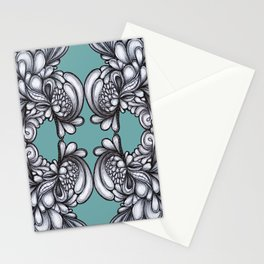 Drips on Teal. Black and white pen illustration pattern.  Stationery Cards