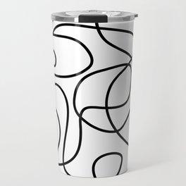 Doodle Line Art | Black on White Travel Mug