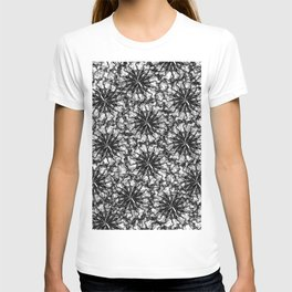 Modern Black and White Smoke Floral Pattern T-shirt