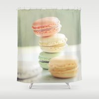 macarons Shower Curtains featuring Pretty Macarons by happeemonkee