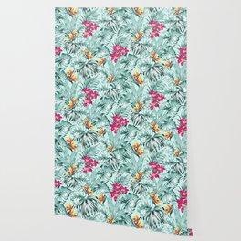Bird of Paradise Greenery Aloha Hawaiian Prints Tropical Leaves Floral Pattern Wallpaper