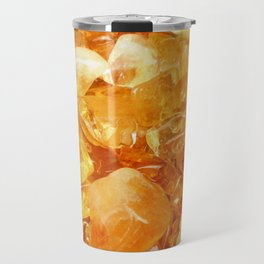 """Amber Quartz Solar Orange Crystal Opal Gem Stone"" Travel Mug"