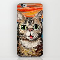 lil bub iPhone & iPod Skins featuring Lil Bub Meets The Scream by Sagittarius Gallery