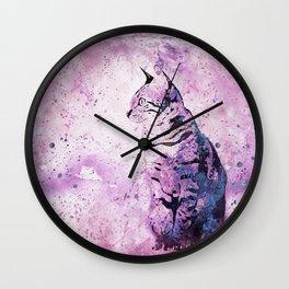 Pink Watercolor Cat Painting Wall Clock