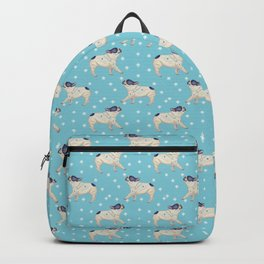 French Bulldog & Snowflake Pattern, Sky Blue Backpack