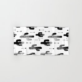 Black and white ink cactus garden indian summer Hand & Bath Towel
