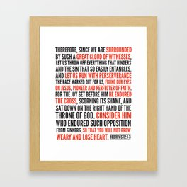 Hebrews 12:1-3 Great Cloud of Witnesses Framed Art Print