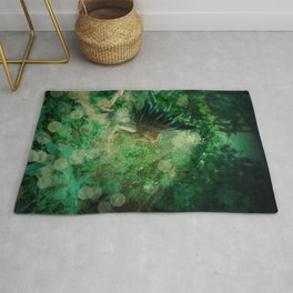 Abstract illustration of fairy fly in the forest Rug