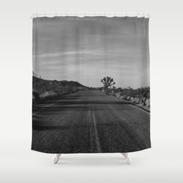 Monochrome Joshua Tree Road Shower Curtain