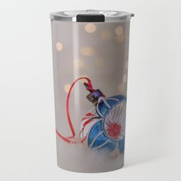 Vintage Chrismas Ball in Pink and Blue Travel Mug