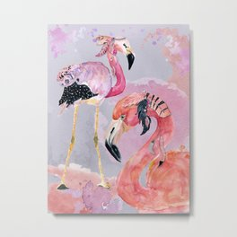 Pink Flamingos – Boho-Style Metal Print