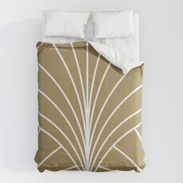 Round Series Floral Burst White on Gold Comforters