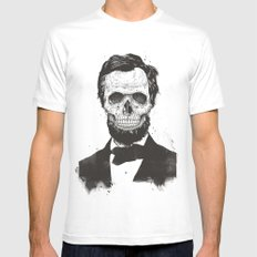 Dead Lincoln (b&w) White Mens Fitted Tee MEDIUM