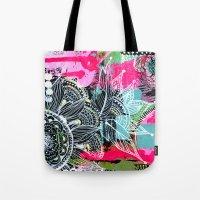 alisa burke Tote Bags featuring pink and black by Alisa Burke