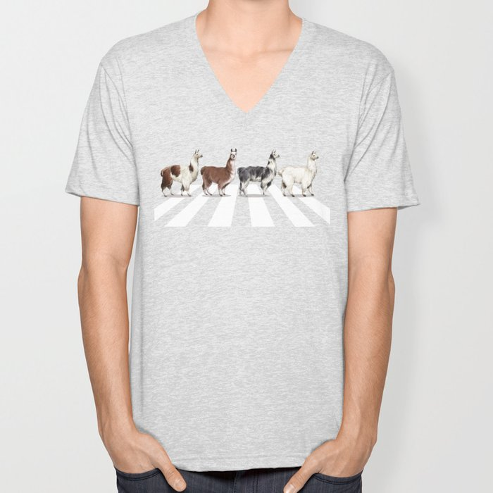 Llama The Abbey Road #1 Unisex V-Neck