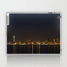The Seattle, Washington skyline at night Laptop & iPad Skin