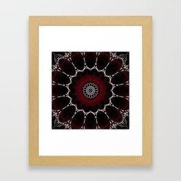 Deep Ruby Red Mandala Design Framed Art Print
