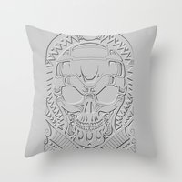 terminator Throw Pillows featuring terminator polynesian by Andrew Mark Hunter