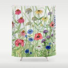Watercolor of Garden Flower Medley Shower Curtain