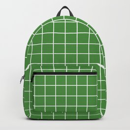 May green - green color - White Lines Grid Pattern Backpack