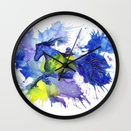 Watercolor and Ink Horse Wall Clock