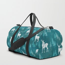 Ice Forest Deer Turquoise Duffle Bag