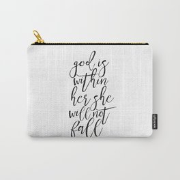 SCRIPTURE SIGN Bible Cover God Is Within her She WIll Not Fall Printable Quotes Scripture Wall Art Carry-All Pouch