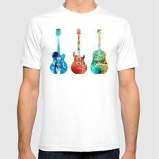 Abstract Guitars by Sharon Cummings SMALL White Mens Fitted Tee
