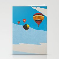 hot air balloons Stationery Cards featuring Four Hot Air Balloons by Shelley Chandelier