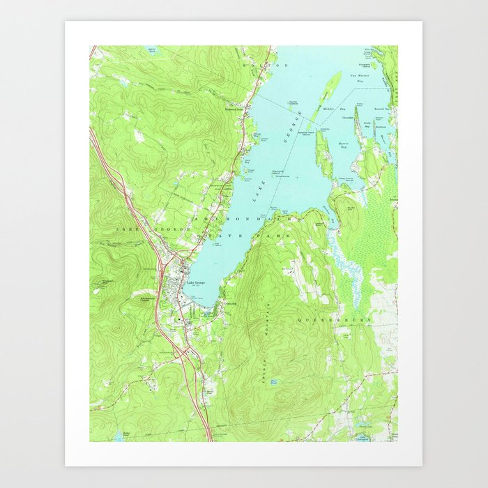 Vintage Map of Lake George New York (1966) 2 Art Print by ...