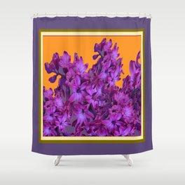 Decorative Purple Hyacinths Puce-Orange Color Art Shower Curtain