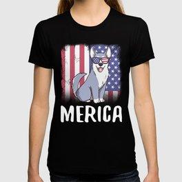 Merica Husky Dog USA American Flag T-shirt