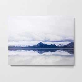 Navy blue Mountains Against Lake With Clouds Metal Print