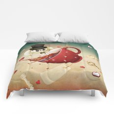 fantasy with red cup of tea and rabbit Comforters