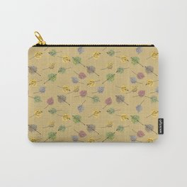 Colorado Aspen Tree Leaves Hand-painted Watercolors in Golden Autumn Shades on Jute Beige Carry-All Pouch