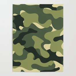 Camouflage Camo Green Tan Pattern Poster
